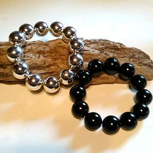 Nwot Black and Silver Stretch Bracelets